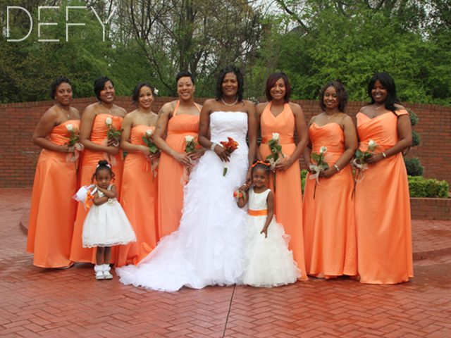 Bridal Party in Orange