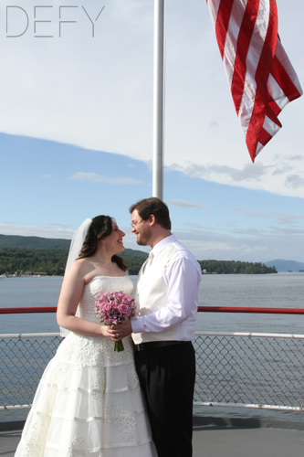 bride and groom lake george new york ship