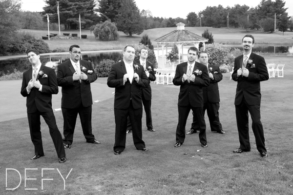 Groomsmen being suave