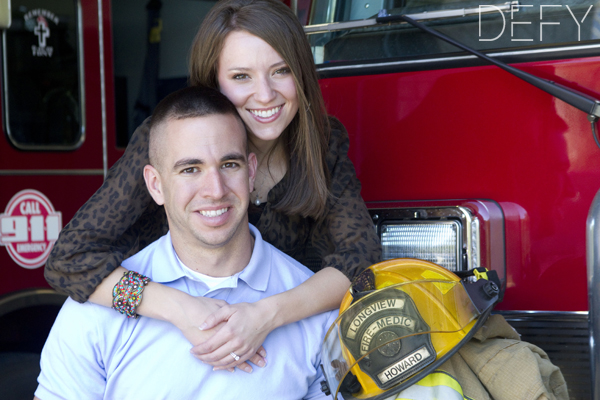 Couple on a fire truck