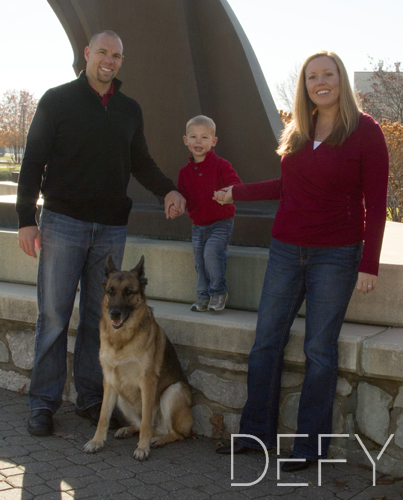 family with german shepherd