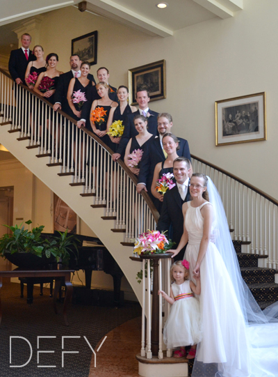 wedding party on staircase