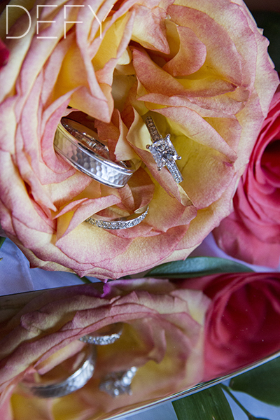 rings in rose and reflection