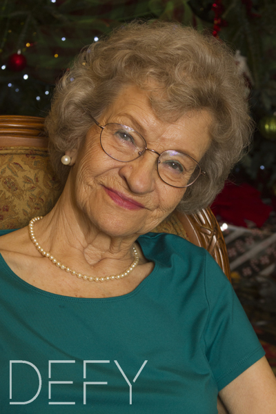 christmas portrait of elderly lady