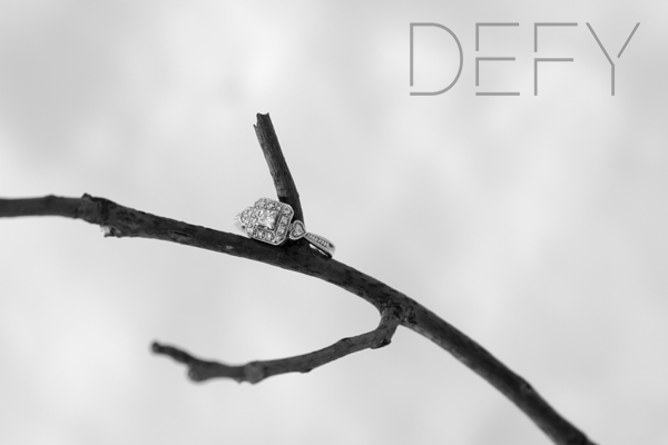 engagement ring in snow