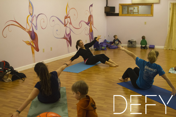 mom and kids workout class